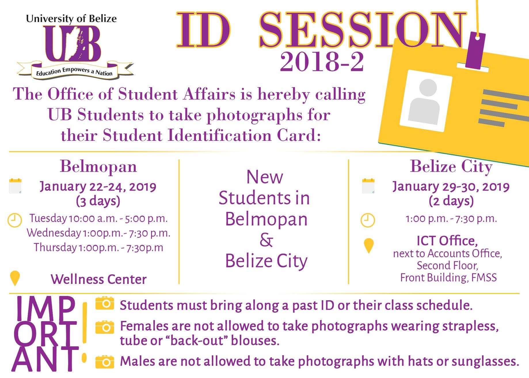 Ub Calendar 2019 ID Session in Belmopan
