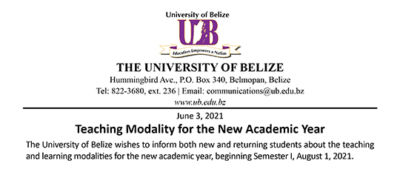 NOTICE – Teaching Modality for the New Academic Year